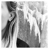 STINEA PETIT CREOL WITH FEATHER EARRING SILVER_