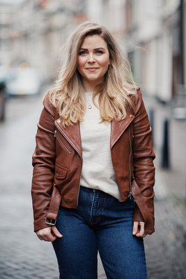 GOOSECRAFT LEATHER BIKER JACKET GC MARLY BROWN