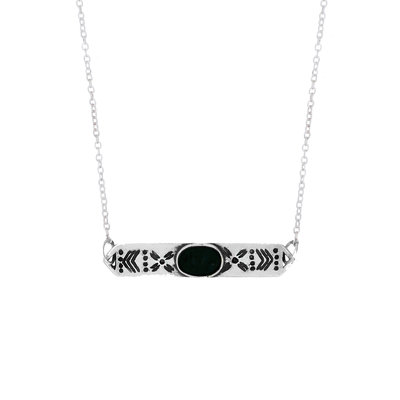 KETTING STEENTJE ONYX SILVER MY TREASURE HUNTS