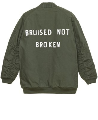ZOE KARSSEN BRUISED NOT BROKEN LONG LENGTH BOMBER