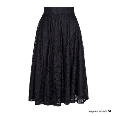 PAPILLON REBELLE MIDI SKIRT LACE BLACK
