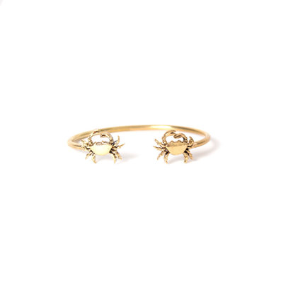 A-La  Brass Bangle Bracelet Crab