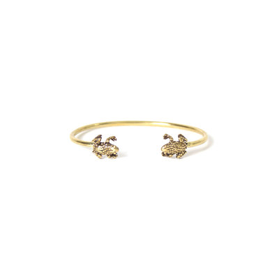 A-La  Brass Bangle Bracelet FROG