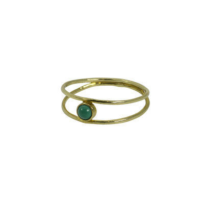 RING BRASS TURQUOISE STEENTJE DUBBEL  MY TREASURE HUNTS