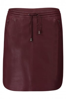 IBANA RED LEATHER SKIRT MESSA BURGUNDY