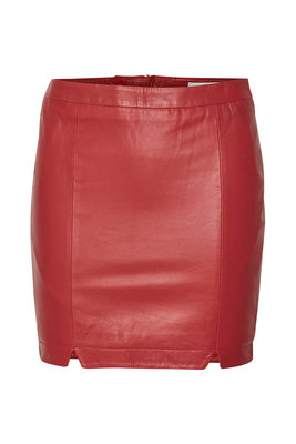 GESTUZ TIDA SKIRT RED LEATHER