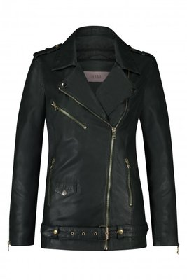 IBANA GREEN LEATHER HONOLULU LONG BIKER JACKET