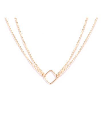 GOLD NECKLACE MIAB TWISTED SQUARE