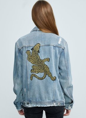 ZOE KARSSEN DENIM JACKET CLIMBING TIGER