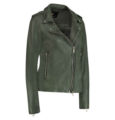 GOOSECRAFT LEATHER BIKER JACKET LEAF GREEN