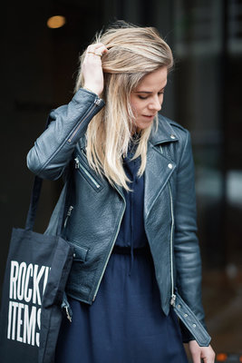 GOOSECRAFT LEATHER BIKER JACKET NAVY