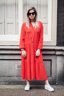 MOSS COPENHAGEN KITTA MIRAM RED DRESS