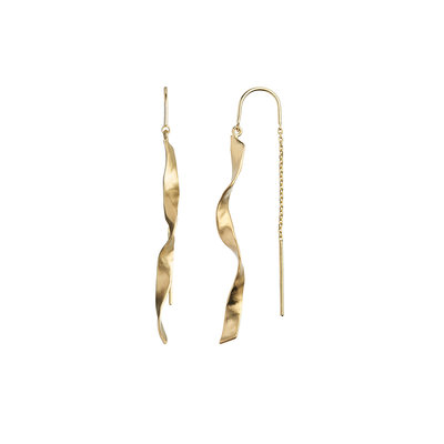 STINEA LONG TWISTED HAMMERED EARRING GOLD
