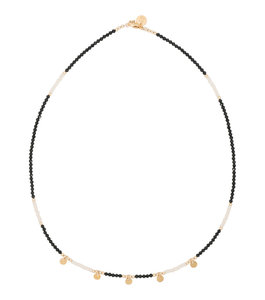 GOLD  NECKLACE MIAB BLACK AND WHITE