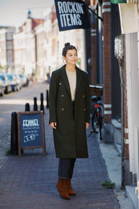 MODSTROM ODELIA LONG COAT DARK ARMY