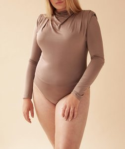 GATHERED LONG SLEEVE BODY BY OLCAY TAUPE